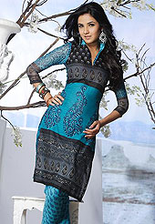 Let your personality articulate for you with this designer printed suit. Fantastic pure cotton suit with faux chiffon dupatta and matching churidar is fascinating. Amazing kameez adorned with beautiful floral print work.  Paired with matching dupatta and churidar, the entire ensemble makes an excellent wear. Slight Color variations are possible due to differing screen and photograph resolutions.