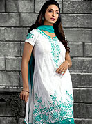 Outfit is a novel ways of getting yourself noticed. This Gorgeous cotton suit nicely designed with beautiful embroidered work on kameez and border. This drape material is cotton. Matching churidar and dupatta is available. Slight color variations are possible due to differing screen and photograph resolutions.