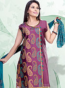 The very silhouette and styling of this outfit proves quiet flattering for most body types and renders a rather grand and majestic appeal. This beautiful Kameez is embellished with paisley pattern print work and contrasting buttons with golden lace. Color combination of kameez make attractive to impress all. This suit is made with cotton fabric. Matching churidar and dupatta made it pretty and exclusive to others. This is readymade suits. Slight Color variations are possible due to differing screen and photograph resolutions.
