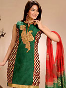 Fantastic suit embellished with embroidery. This arresting suit is nicely designed with embroidery patch in floral pattern with border. Embroidery is done with resham, zari and stone. This beautiful suit is crafted with chanderi cotton fabric. Color combination of this suit is fascinating and impress to all. Matching salwar and dupatta is available. Slight Color variations are possible due to differing screen and photograph resolutions.