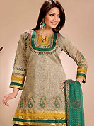 Keep the interest with this designer printed suit. This arresting suit has beautiful print work in floral pattern with lace border. This beautiful suit is crafted with cotton fabric. Color combination of this suit is fascinating and impress to all. Matching salwar and dupatta is available. Slight Color variations are possible due to differing screen and photograph resolutions.