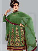 Breathtaking collection of designer suits with stylish embroidery work and fabulous style. The beautiful kameez have amazing patch work on bottom area done with zari, resham, and lace border. Matching embroidered dupatta and churidar gives a perfect finish to the entire suit. This drape material is georgette. Slight Color variations are possible due to differing screen and photograph resolutions.