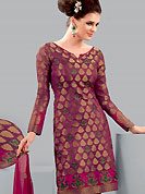 Be the cynosure of all eyes with this wonderful casual wear salwaar kameez in flattering colors and combinations. This Amazing chanderi kameez adorned with floral patterned embroidery patch done with zari and resham work. This awesomely designed pattern give's you a gorgeous and dazzling look everywhere. Combination of churidar and embroidered dupatta gives a casual look. Slight Color variations are possible due to differing screen and photograph resolutions.