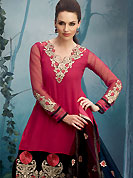 Ultimate collection of designer suits with stylish embroidery work with fabulous style. This beautiful kameez is uniquely crafted with resham embroidery work in shape of floral motif with lace border. This dazzling suit made with net fabric. Matching churidar and embroidered dupatta comes along with this unstitched outfit. Slight Color variations are possible due to differing screen and photograph resolutions.