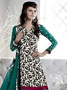 Attract all attentions with this designer suit adorned with embroidery and print work. This well-designed crepe kameez nicely designed with paisley print work with resham and zari embroidered patch border. Faux crepe churidar and printed chiffon dupatta is available with this suit. Color combination of this suit is fascinating and makes you fashionable look. Slight Color variations are possible due to differing screen and photograph resolutions.
