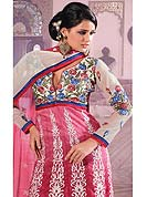 Make a trendy look with this classic embroidery suit with dupatta. This kameez is enhanced with resham embroidery patch work and border. Embroidered choli make attractive. This suit is made with cotton chanderi fabric. Matching churidar and dupatta made it attractive and exclusive to others. Slight Color variations are possible due to differing screen and photograph resolutions.