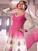 Outfit is a novel ways of getting yourself noticed. This Sky blue and white kameez nicely designed with nice embroidery patches done with resham and zari. Fabric lace work on bottom of the kameez gives you a standard look. This suit made with net fabric. Contrasting churidar and embroidery dupatta made it attractive and give stunning look. Slight Color variations are possible due to differing screen and photograph resolutions.