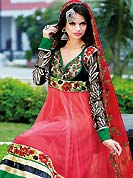 Breathtaking collection of designer suits with stylish embroidery work and fabulous style. This red net kameez has beautiful parsi resham embroidered patch work on choli and border with nice mixing of embroidered sleeves. Stylish neck is eye catching to impress all. Matching embroidered dupatta and churidar give you a classic look. Slight Color variations are possible due to differing screen and photograph resolutions.