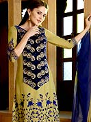 Era with extension in fashion, style, Grace and elegance have developed grand love affair with this ethnical wear. This Gorgeous yellow and blue suit has long kameez which is designed with beautiful resham floral embroidered on bottom area with border patch and embroidered velvet choli. This drape material is faux georgette. Matching churidar and embroidered dupatta is available. Slight color variations are possible due to differing screen and photograph resolutions.