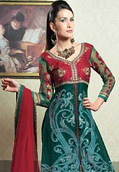 The fascinating beautiful subtly garment with lovely patterns. The dazzling kameez have amazing rich embroidered floral patch work on all over done with zari and resham with lace border. This suit is made with net fabric. Matching embroidered dupatta and churidar is available with this suit. The entire ensemble makes an excellent wear and make you different to others. Slight Color variations are possible due to differing screen and photograph resolutions.