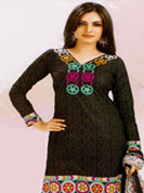 Keep the interest with this designer printed suit. This charming printed kameez has fine and beautiful print work in form of floral patterns. Patch on back side of kameez is nice. This drape material is cotton and customizes upto 44 inches. Matching churidar and dupatta made it attractive and give stunning look and effectively enhance your personality. Slight color variations are possible due to differing screen and photograph resolutions.