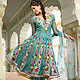 Turquoise Net Anarkali Churidar Kameez with Dupatta