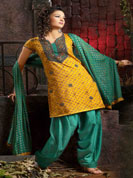 Cotton suit with printed salwar and duptta