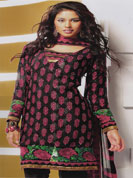 designer suit with printed work and bottom on embroidery with lace work and neck on embroidery with lace work and full sleeves with lace work and printed dupatta.