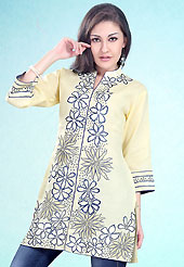 This Yellow Readymade Indo Western Tunic. This tunic is nicely designed with floral embroidery work done with cotton thread. This is perfect casual wear readymade tunics. This is made with linen cotton fabric. Slight color variations are possible due to differing screen and photograph resolution.