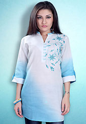 This White and Sky Blue Readymade Indo Western Tunic. This tunic is nicely designed with floral embroidery work done with cotton thread. This is perfect casual wear readymade tunics. This is made with linen cotton fabric. Slight color variations are possible due to differing screen and photograph resolution.