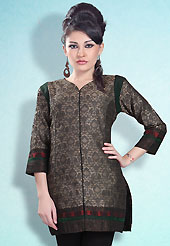 This Black and Grey Readymade Indo Western Tunic. This tunic is nicely designed with floral embroidery work done with cotton thread. This is perfect casual wear readymade tunics. This is made with linen cotton fabric. Slight color variations are possible due to differing screen and photograph resolution.