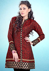 This Red and Black Readymade Indo Western Tunic. This tunic is nicely designed with floral embroidery work done with cotton thread. This is perfect casual wear readymade tunics. This is made with linen cotton fabric. Slight color variations are possible due to differing screen and photograph resolution.