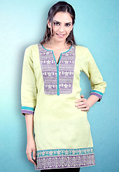 This Lemon Yellow Readymade Indo Western Tunic. This tunic is nicely designed with floral embroidery work done with cotton thread. This is perfect casual wear readymade tunics. This is made with linen cotton fabric. Slight color variations are possible due to differing screen and photograph resolution.