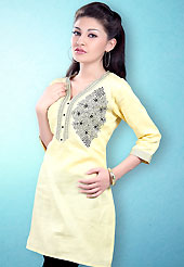 This Light Yellow and Black Readymade Indo Western Tunic. This tunic is nicely designed with floral embroidery work done with cotton thread. This is perfect casual wear readymade tunics. This is made with linen cotton fabric. Slight color variations are possible due to differing screen and photograph resolution.