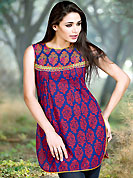 Breathtaking collection of kurti with stylish print work and fabulous style. This simple and pretty kurti has beautiful floral embroidery and print work. Embroidery patch is done with resham threads. This drape material is cotton. The entire ensemble makes an excellent wear. This is a perfect casual wear readymade kurti. Slight Color variations are possible due to differing screen and photograph resolutions.