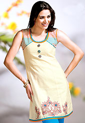 Let your personality articulate for you with this amazing printed kurti. This simple and pretty kurti has beautiful floral embroidery and print work. Embroidery patch is done with resham threads. This drape material is cotton. The entire ensemble makes an excellent wear. This is a perfect casual wear readymade kurti. Slight Color variations are possible due to differing screen and photograph resolutions. This kurti is embellished with beautiful floral print work on all over in fabulous style. This kurti is made with cotton fabric. This is readymade casual wear and 36,38,40,42 & 44 sizes are available. Slight Color variations are possible due to differing screen and photograph resolutions.