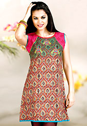 Make a trendy look with this classic printed kurti. This kurti is embellished with beautiful floral print work on all over in fabulous style. This kurti is made with cotton fabric. This is readymade casual wear and 36,38,40,42 & 44 sizes are available. Slight Color variations are possible due to differing screen and photograph resolutions.