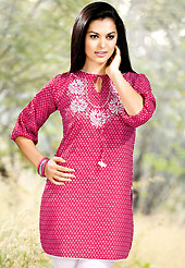 The traditional patterns used on this kurti maintain the ethnic look. This simple and pretty kurti has beautiful floral embroidery and print work. Embroidery patch is done with resham threads. This drape material is cotton. The entire ensemble makes an excellent wear. This is a perfect casual wear readymade kurti. Slight Color variations are possible due to differing screen and photograph resolutions.