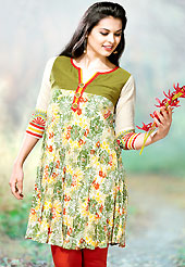 The most beautiful refinements for style and tradition. This kurti is embellished with beautiful floral print work on all over in fabulous style. This kurti is made with cotton fabric. This is readymade casual wear and 36,38,40,42 & 44 sizes are available. Slight Color variations are possible due to differing screen and photograph resolutions.