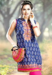 Take a look on the changing fashion of the season.  This kurti is embellished with beautiful floral print work on all over in fabulous style. This kurti is made with cotton fabric. This is readymade casual wear and 36,38,40,42 & 44 sizes are available. Slight Color variations are possible due to differing screen and photograph resolutions.