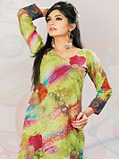 This pastel green cotton tunic is nicely designed with floral, traditional print and lace work in fabulous style. This is a perfect casual wear. This is made with cotton fabric. Bottom shown in the image is just for photography purpose. Slight color variations are possible due to differing screen and photograph resolution.