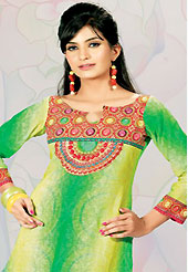 This green and yellow cotton tunic is nicely designed with traditional print and lace work in fabulous style. This is a perfect casual wear. This is made with cotton fabric. Bottom shown in the image is just for photography purpose. Slight color variations are possible due to differing screen and photograph resolution.