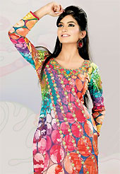 This multicolor cotton tunic is nicely designed with polka dot, abstract print and lace work in fabulous style. This is a perfect casual wear. This is made with cotton fabric. Bottom shown in the image is just for photography purpose. Slight color variations are possible due to differing screen and photograph resolution.