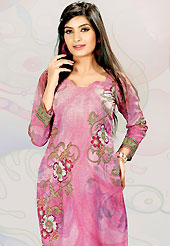 This pink cotton tunic is nicely designed with floral print and lace work in fabulous style. This is a perfect casual wear. This is made with cotton fabric. Bottom shown in the image is just for photography purpose. Slight color variations are possible due to differing screen and photograph resolution.