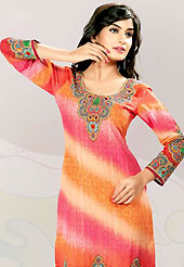 This orange and deep pink cotton tunic is nicely designed with floral, traditional print and lace work in fabulous style. This is a perfect casual wear. This is made with cotton fabric. Bottom shown in the image is just for photography purpose. Slight color variations are possible due to differing screen and photograph resolution.