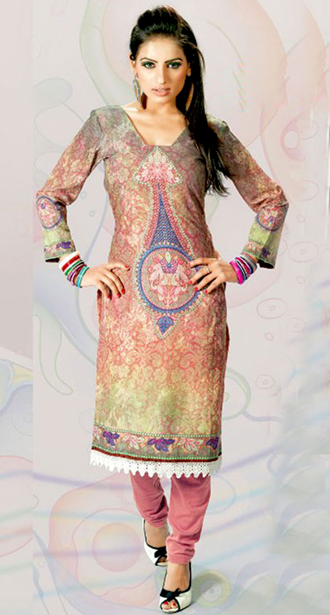 This grey and onion pink cotton tunic is nicely designed with floral print, resham and lace work in fabulous style. This is a perfect casual wear. This is made with cotton fabric. Bottom shown in the image is just for photography purpose. Slight color variations are possible due to differing screen and photograph resolution.