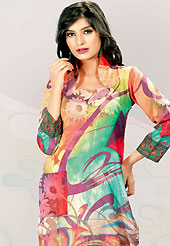 This multicolor cotton tunic is nicely designed with floral, abstract, traditional print and lace work in fabulous style. This is a perfect casual wear. This is made with cotton fabric. Bottom shown in the image is just for photography purpose. Slight color variations are possible due to differing screen and photograph resolution.