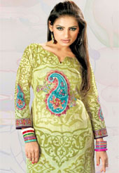This light olive green cotton tunic is nicely designed with floral print, resham, sequins and lace work in fabulous style. This is a perfect casual wear. This is made with cotton fabric. Bottom shown in the image is just for photography purpose. Slight color variations are possible due to differing screen and photograph resolution.