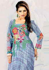 This sky blue cotton tunic is nicely designed with floral, abstract print and lace work in fabulous style. This is a perfect casual wear. This is made with cotton fabric. Bottom shown in the image is just for photography purpose. Slight color variations are possible due to differing screen and photograph resolution.