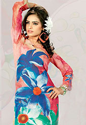 This deep peach, blue and green cotton tunic is nicely designed with floral, abstract print and lace work in fabulous style. This is a perfect casual wear. This is made with cotton fabric. Bottom shown in the image is just for photography purpose. Slight color variations are possible due to differing screen and photograph resolution.