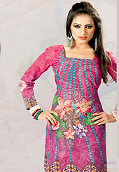 This dark pink cotton tunic is nicely designed with floral, abstract print and lace work in fabulous style. This is a perfect casual wear. This is made with cotton fabric. Bottom shown in the image is just for photography purpose. Slight color variations are possible due to differing screen and photograph resolution.