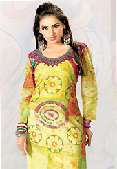 This yellow cotton tunic is nicely designed with floral, abstract print and lace work in fabulous style. This is a perfect casual wear. This is made with cotton fabric. Bottom shown in the image is just for photography purpose. Slight color variations are possible due to differing screen and photograph resolution.