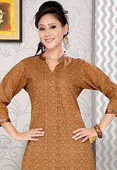 Let your personality articulate for you with this amazing printed kurti. This simple and pretty kurti has beautiful floral print and lace work. This drape material is cotton. The entire ensemble makes an excellent wear. This is a perfect casual wear readymade kurti. Slight Color variations are possible due to differing screen and photograph resolutions.