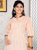 Keep the interest with this designer print kurti. This simple and pretty kurti has beautiful floral print and lace work. This drape material is cotton. The entire ensemble makes an excellent wear. This is a perfect casual wear readymade kurti. Slight Color variations are possible due to differing screen and photograph resolutions.