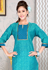 Style and trend will be at the peak of your beauty when you adorn this kurti. This simple and pretty kurti has beautiful floral, paisley print and gota patti work. This drape material is cotton. The entire ensemble makes an excellent wear. This is a perfect casual wear readymade kurti. Slight Color variations are possible due to differing screen and photograph resolutions.
