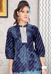 Take the fashion industry by storm in this beautiful printed kurti. This simple and pretty kurti has beautiful floral print and lace work. This drape material is cotton. The entire ensemble makes an excellent wear. This is a perfect casual wear readymade kurti. Slight Color variations are possible due to differing screen and photograph resolutions.