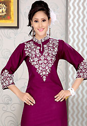 Attract all attentions with this printed kurti. This simple and pretty kurti has beautiful embroidery patch work. Embroidery patch is done with resham work. This drape material is cotton. The entire ensemble makes an excellent wear. This is a perfect casual wear readymade kurti. Slight Color variations are possible due to differing screen and photograph resolutions.