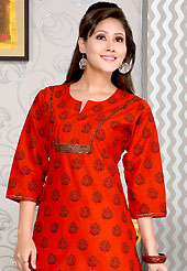 The very silhouette and styling of this outfit proves quiet flattering for most body types and renders a rather grand and majestic appeal. This simple and pretty kurti has beautiful floral print, lace, sequins and patch work. This drape material is cotton. The entire ensemble makes an excellent wear. This is a perfect casual wear readymade kurti. Slight Color variations are possible due to differing screen and photograph resolutions.