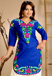 The fascinating beautiful subtly garment with lovely patterns. This simple and pretty kurti has beautiful floral embroidery work is done with resham threads. This drape material is cotton. The entire ensemble makes an excellent wear. This is a perfect casual wear readymade kurti. Bottom shown in the image is just for photography purpose. Slight Color variations are possible due to differing screen and photograph resolutions.