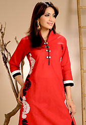 A desire that evokes a sense of belonging with a striking details. This simple and pretty kurti has beautiful floral embroidery work is done with resham threads. This drape material is cotton. The entire ensemble makes an excellent wear. This is a perfect casual wear readymade kurti. Bottom shown in the image is just for photography purpose. Slight Color variations are possible due to differing screen and photograph resolutions.